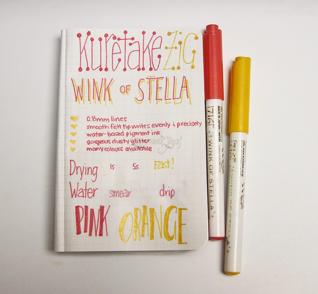 @Kuretake_ZIG Wink of Stella 0.8mm Glitter Marker - Orange & Pink