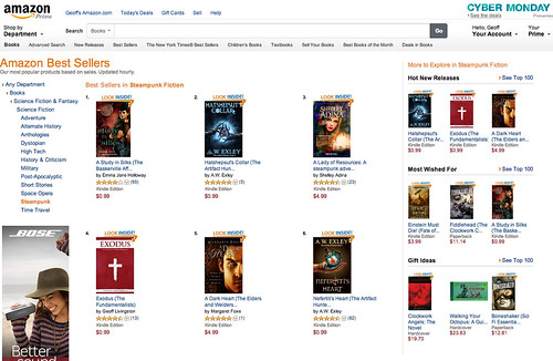 Exodus Number 4 on Amazon's Steampunk List this Cyber Monday by Geoff Livingston