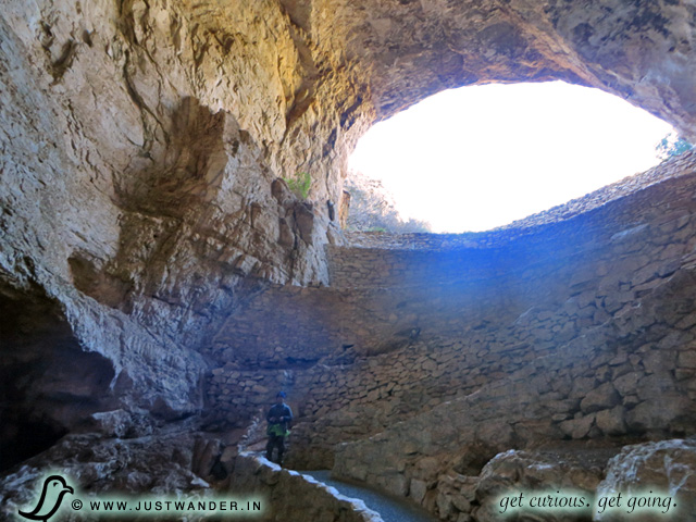 PIC: Looking up and out from inside the Natural Entrance of Carlsbad Caverns National Park.