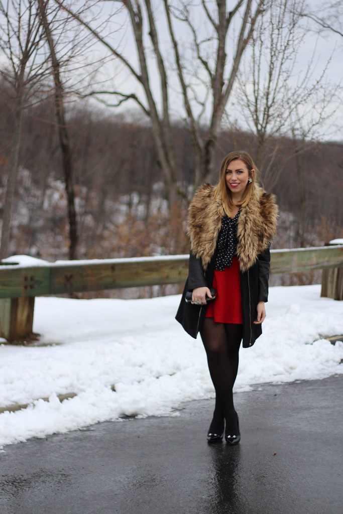 Living After Midnite: Outfit: Fur Coat, Red Skirt, Polka Dots