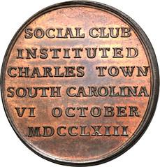 1763 Charlestown Social Club medal reverse