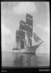Three-masted training ship MERSEY viewed on the bow starboard quarter, 1908-1915