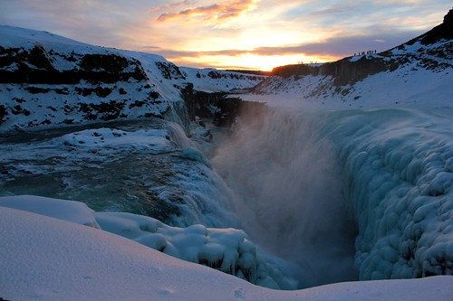 winter sunset sky snow ice clouds river golden waterfall iceland twilight dusk spray gorge cascade gullfoss ísland hvitá picmonkey:app=editor
