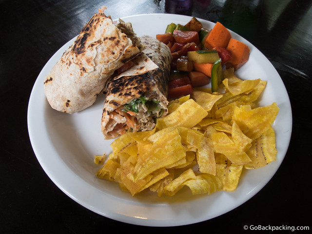 Coconut curry chicken wrap at Earth Mama's