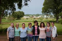 Keirson, Stacey, Dana, Alika, Danika, Lainika, Autumn, Janika overlooking Choma, Zambia