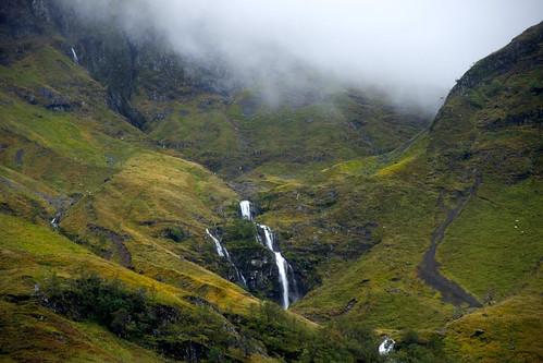 uk mountains fog scotland day highland glencoe