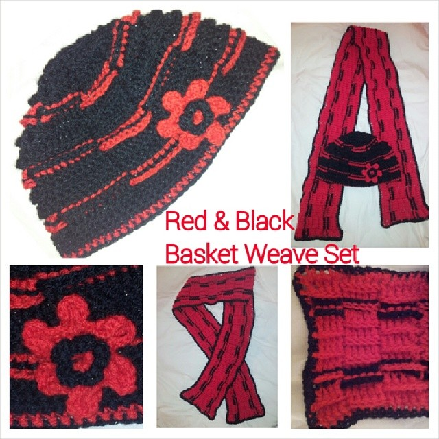 Completed 2/2014 - Red and Black Basket Weave Crochet Hat and Scarf Set. #crochet #hat #scarf #handmade #handicraft #winter #craft