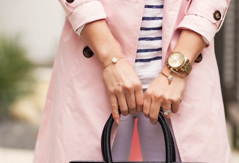 cute & little blog | petite fashion | pink trench springtime layering, navy breton stripes top, white jeans, statement necklace, celine outfit