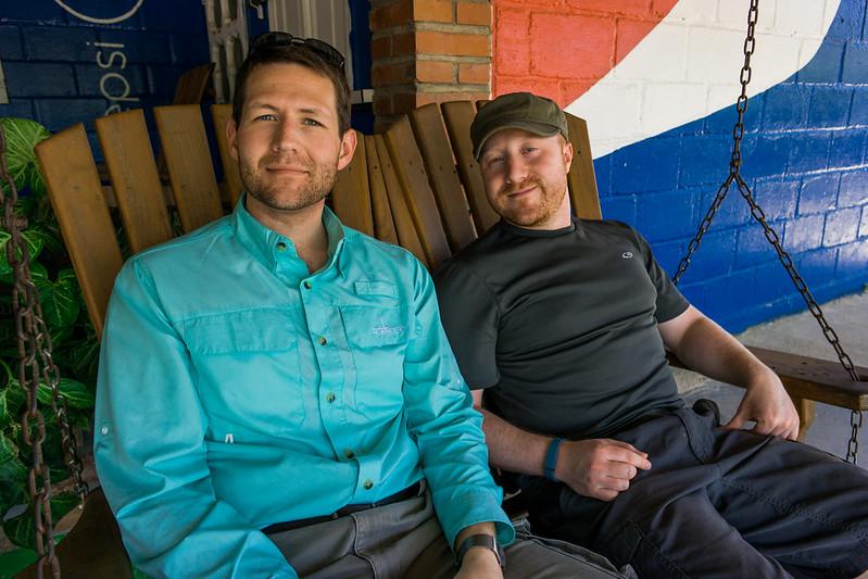 Mike and Josh on a Swing  at a Pulperia Outside Guiamaca, Honduras
