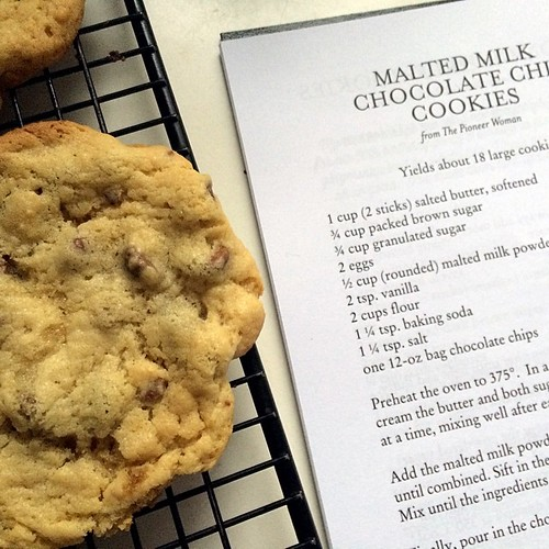 Malted milk chocolate chip cookies for the Monday win.