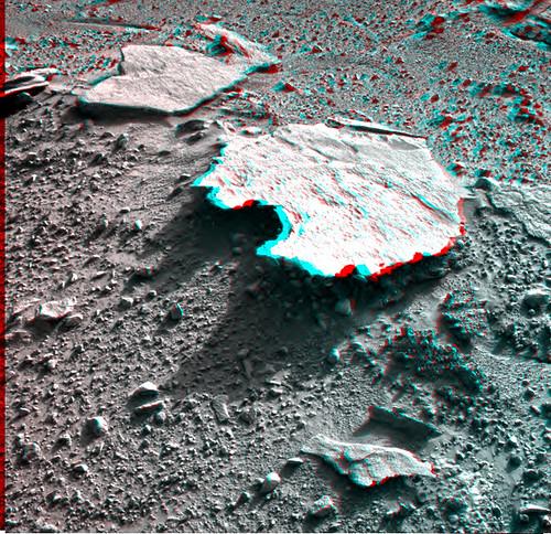 Curiosity NavCam r/l sol 593 anaglyph detail