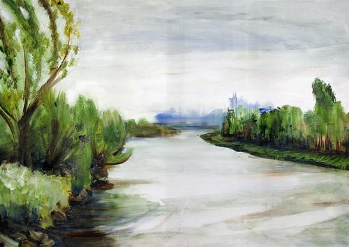 Wambrechies, la Deûle, depuis le pont du Vert-Galant