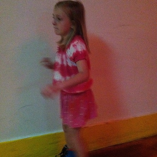 After some tears, she's roller skating.