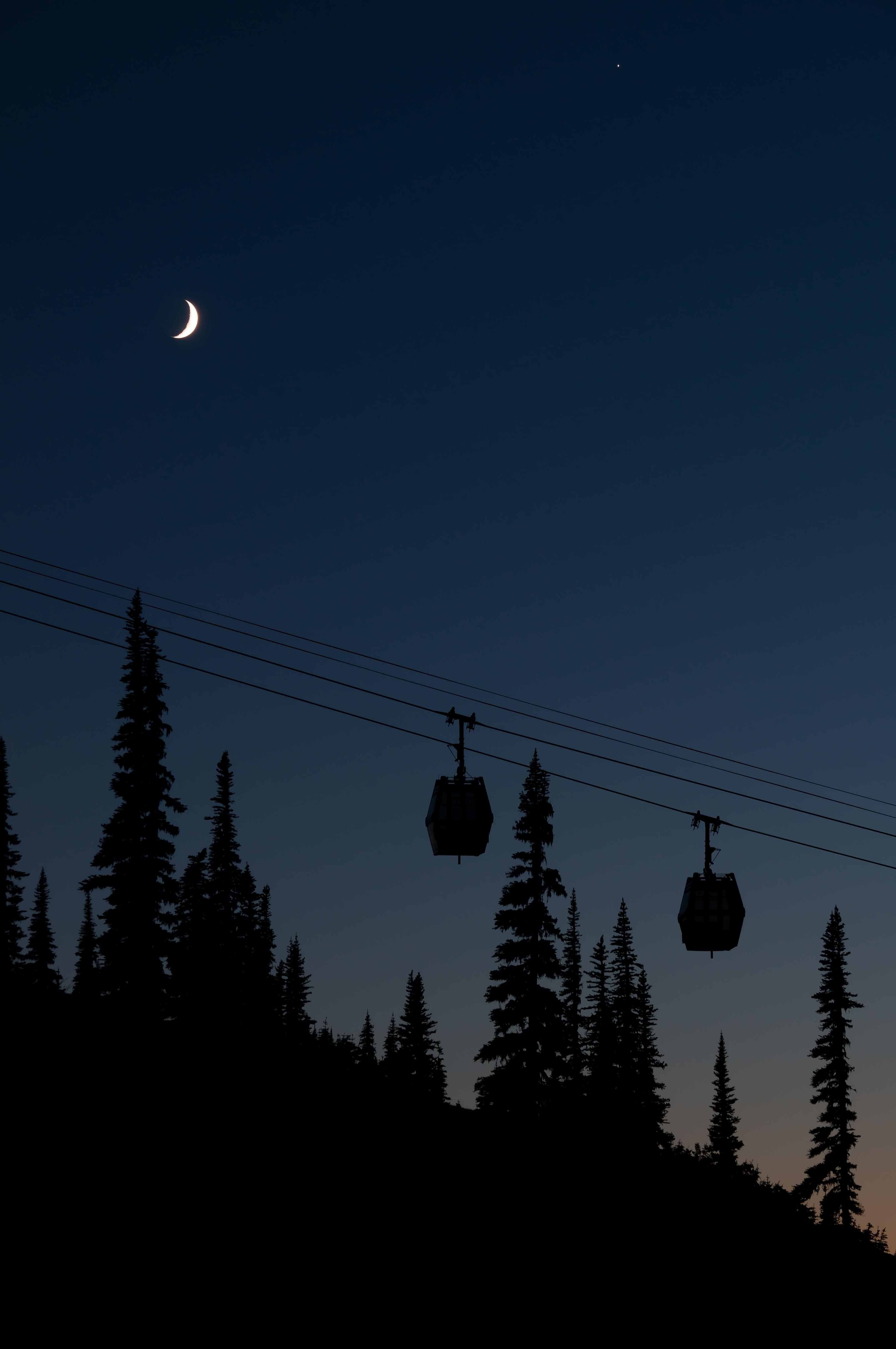 Moonlit Gondolas, Whistler, Canada