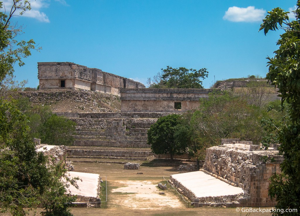 The Ballgame court (foreground) was built in the late 9th century, and was used for prestigious ceremonial games