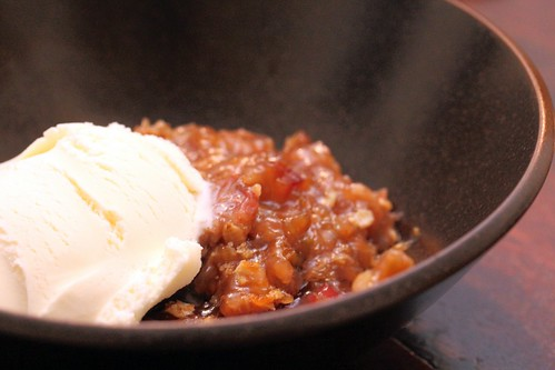 Rhubarb crisp with ice cream