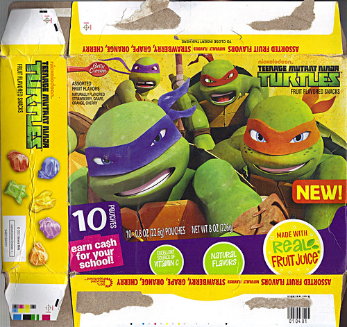"BETTY CROCKSER :: ""Nickelodeon TEENAGE MUTANT NINJA TURTLES"" Fruit Flavored Snacks ii (( 2013 ))"