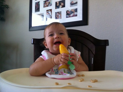 Dakota eating a homemade mango Popsicle.