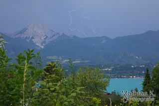 Sommergewitter, Blitze über den Karawanken