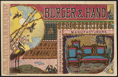 Burger & Hand, fine furniture manufacturers, all goods guaranteed. (front)