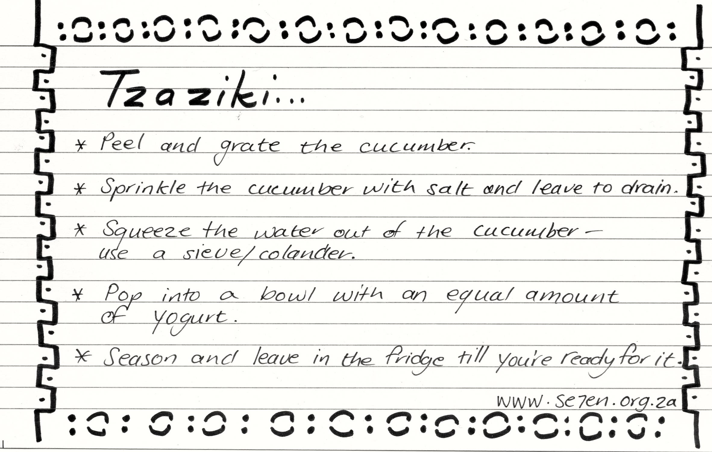 recipe card Tzaziki003