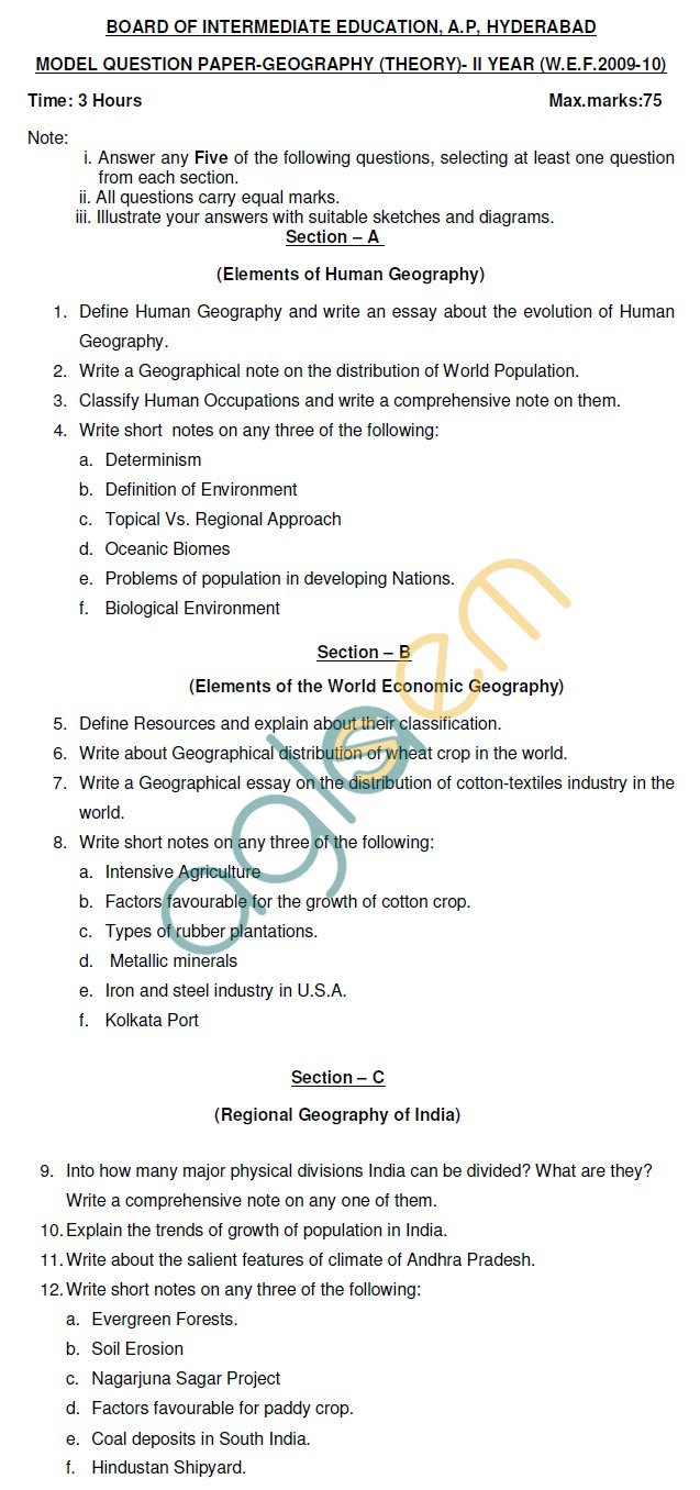 AP Board Intermediate II Year Geography Model Question Paper