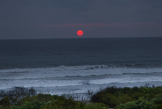 Red sun over the Pacific