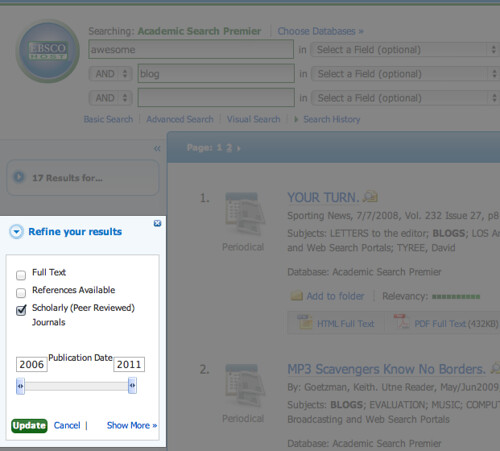 in EBSCO databases, search limiters are on the left-hand side of the screen.