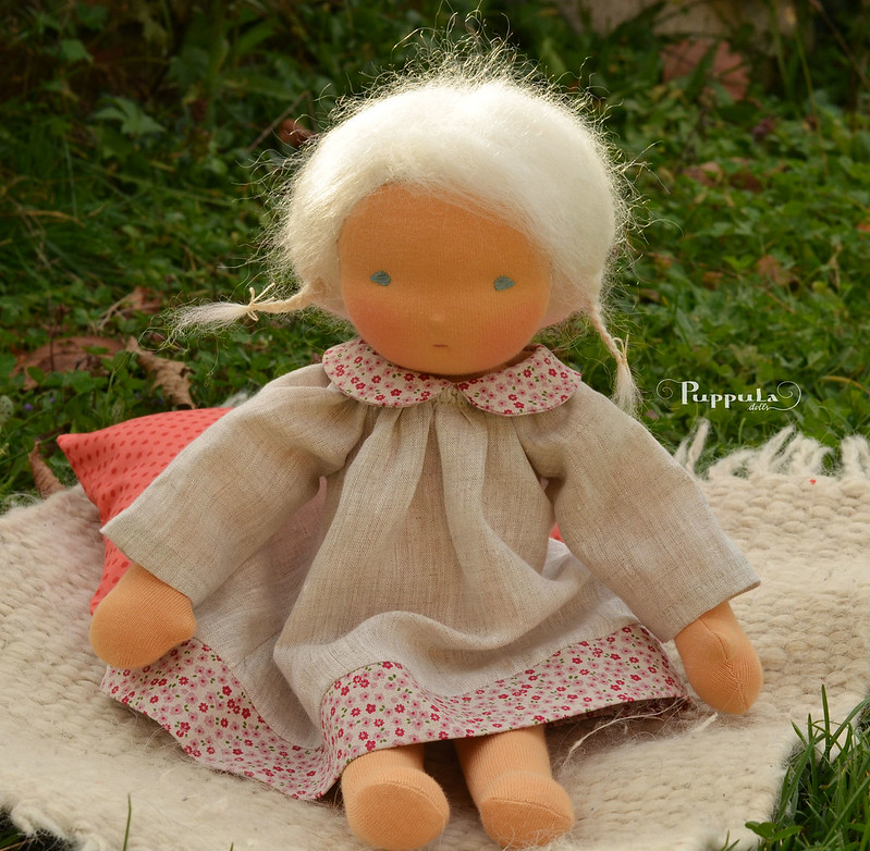 Linen dress for a 15 inch doll