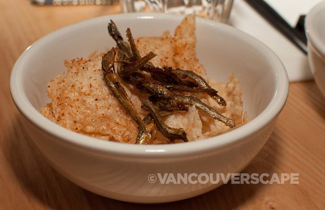 PiDGiN's Rice crackers, sweet soy anchovies