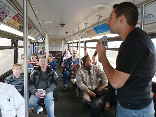 Photo of guide on bus tour of East Rail Line