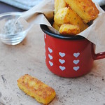 Ricotta and polenta chips with sage salt