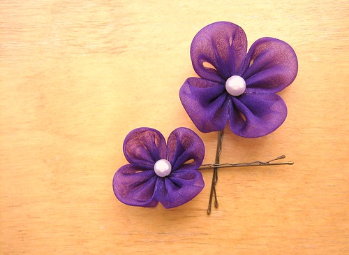 Purple Kanzashi Bobby Pins