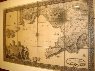 "Naples Gulf - map on paper year 1793 by Rizzi Zannoni - ""The pursuit of Sir William Hamilton"" - Exhibition by Mark Dion - San Martino Museum, now in Villa Pignatelli Museum in Naples (until February 2, 2014)"