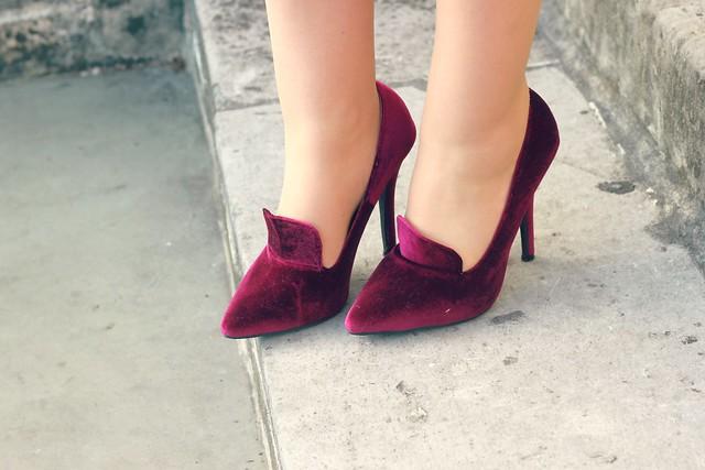 Boohoo velvet heels