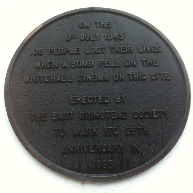 Photo of Whitehall Cinema black plaque