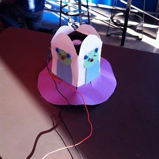 Hoverbot decorated as UFO using constuctionpaper and components