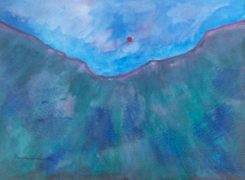 Sun and Ridge (Acrylic Water Media as of Dec. 27, 2013) by randubnick