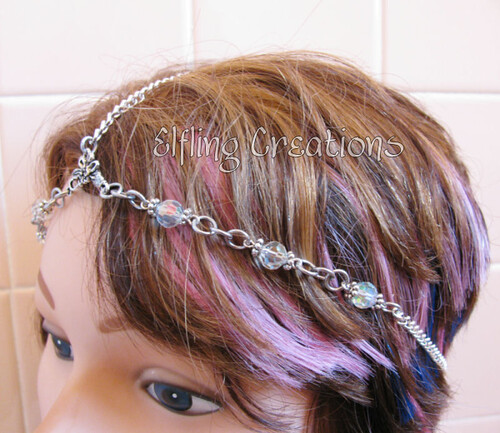 Silver Chain Circlet -  close up