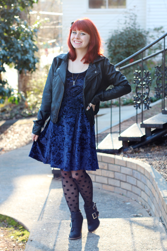 Leather Jacket, Blue Crushed Velvet Dress, Polka Dot Tights, and Ankle Boots