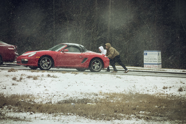 This Porsche wasn't prepared for the snow in Woodstock, Georgia, this week.