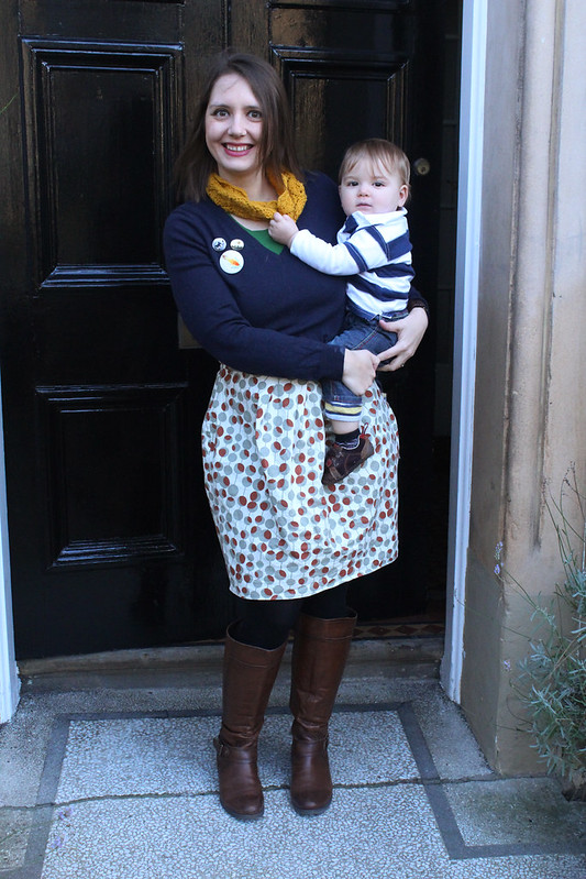 dotty skirt and navy jumper