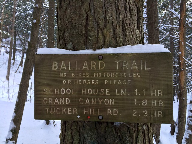 Bill Ballard Trail, Norwich, Sign, Snowshoeing, Vermont