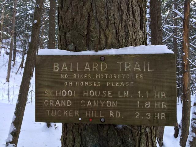 Bill Ballard Trail, Norwich, Sign, Snowshoeing, Vermont
