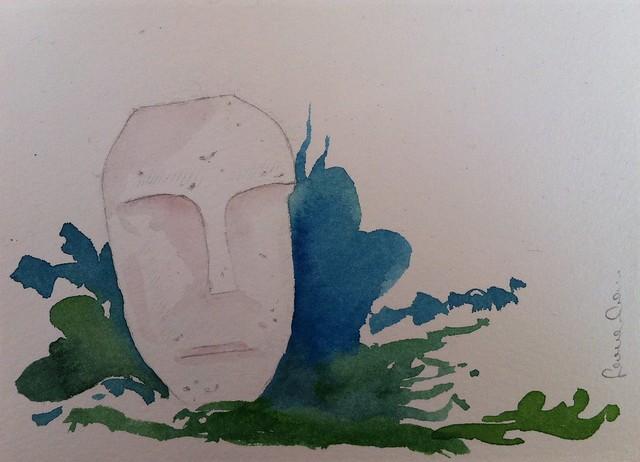 Volti di pietra acquarello