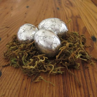 Antiqued Silver Eggs