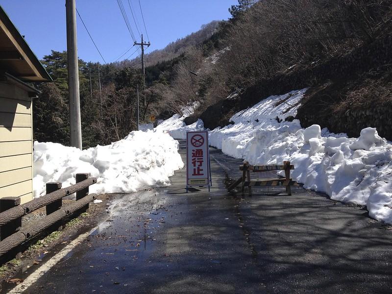 定峰峠→白石峠 2014.3.22 大雪残雪で通行止め