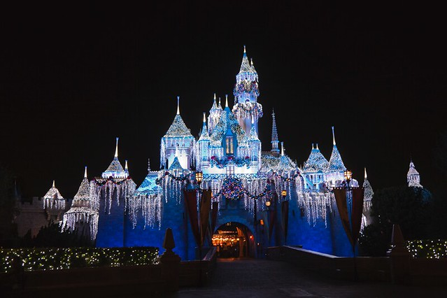 Sleeping Beauty's Castle at night at the happiest place on earth, Disneyland