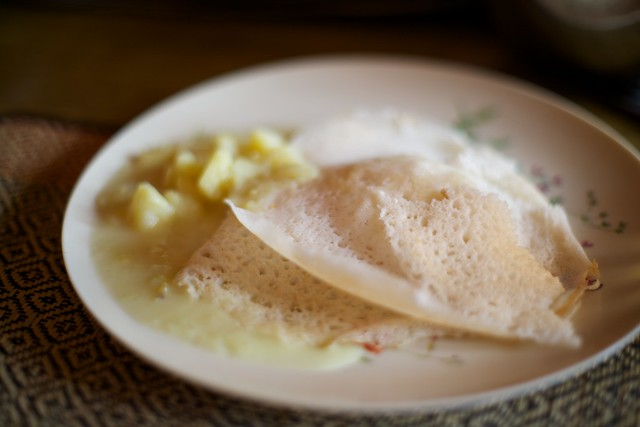 Appam and potato stew