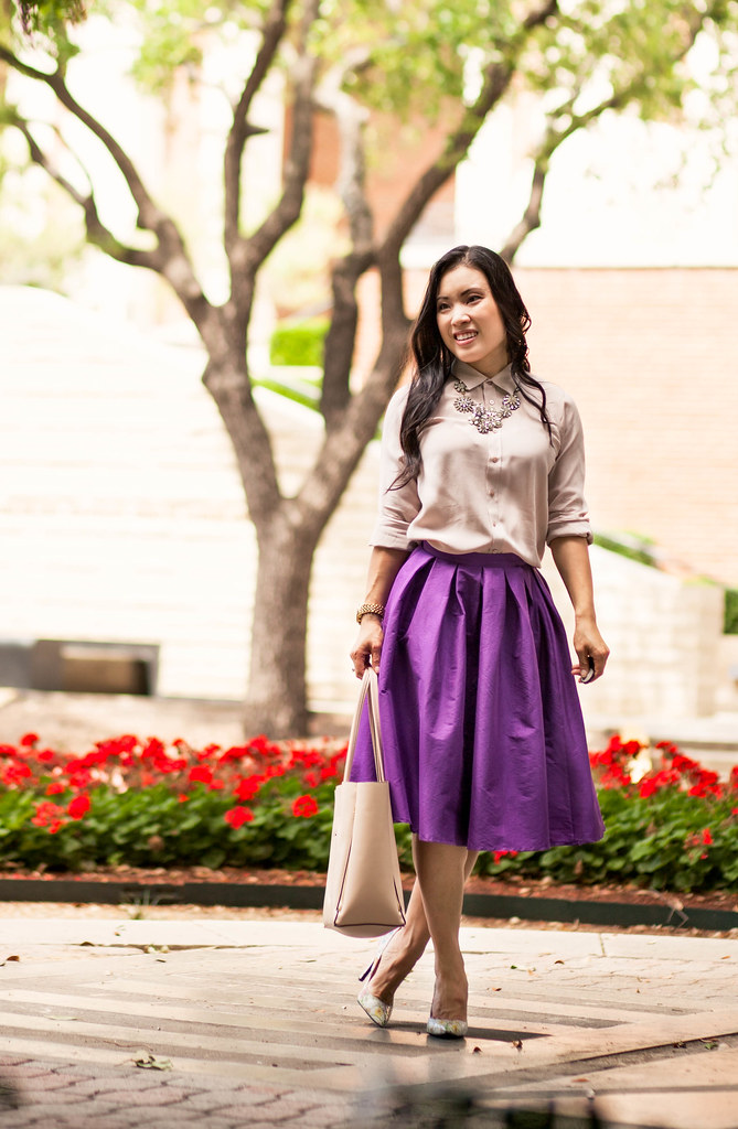 cute & little blog | petite fashion | everlane dusk collar blouse, chicwish purple midi skirt, shoes of prey floral pumps, crystal statement necklace | spring outfit